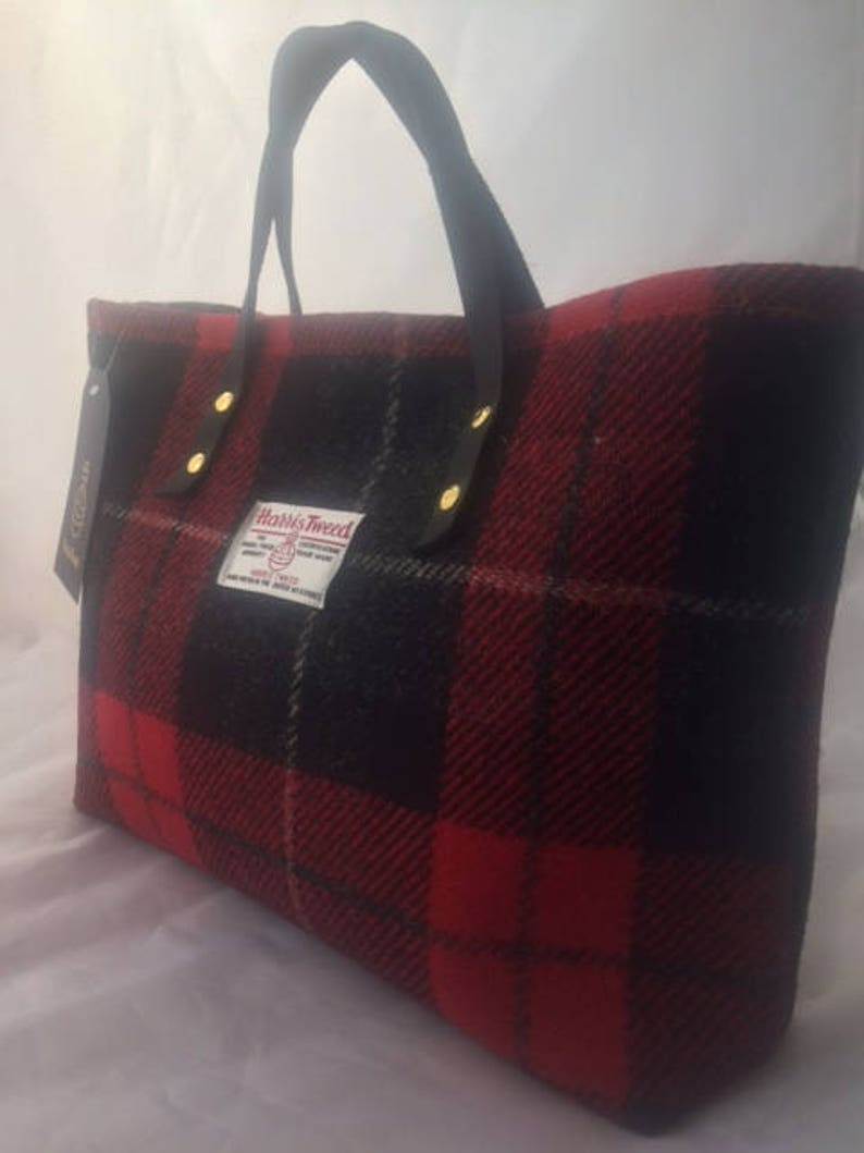 dfbed04bf35c Red black Harris tweed tote bag purse handbag tartan purse gift for her  womans g... Red black Harris tweed tote bag purse handbag tartan purse gift  for her ...