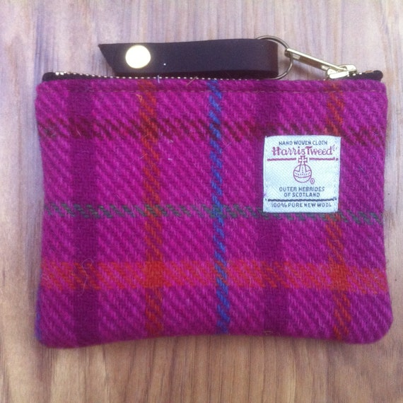 zipper pouch gift for her Harris tweed coin purse ready to ship,birthday gift purse