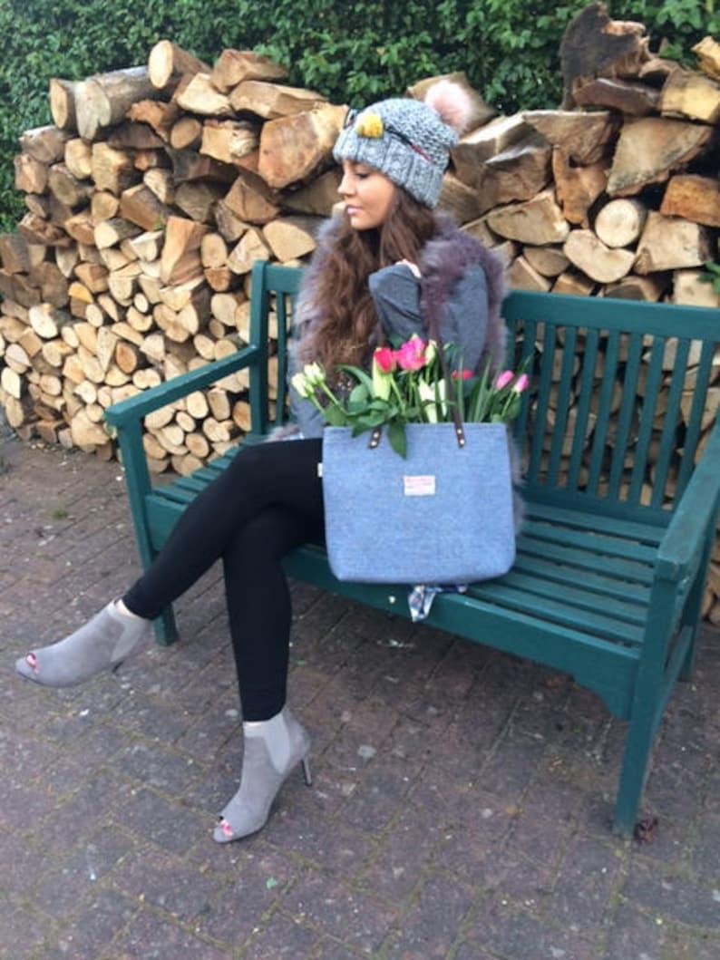 Harris tweed purse bag handbag blue wool woman girl gift tartan made in Scotland plaid Scottish
