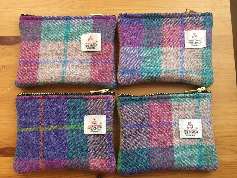 Harris tweed coin purse Scottish gift tartan