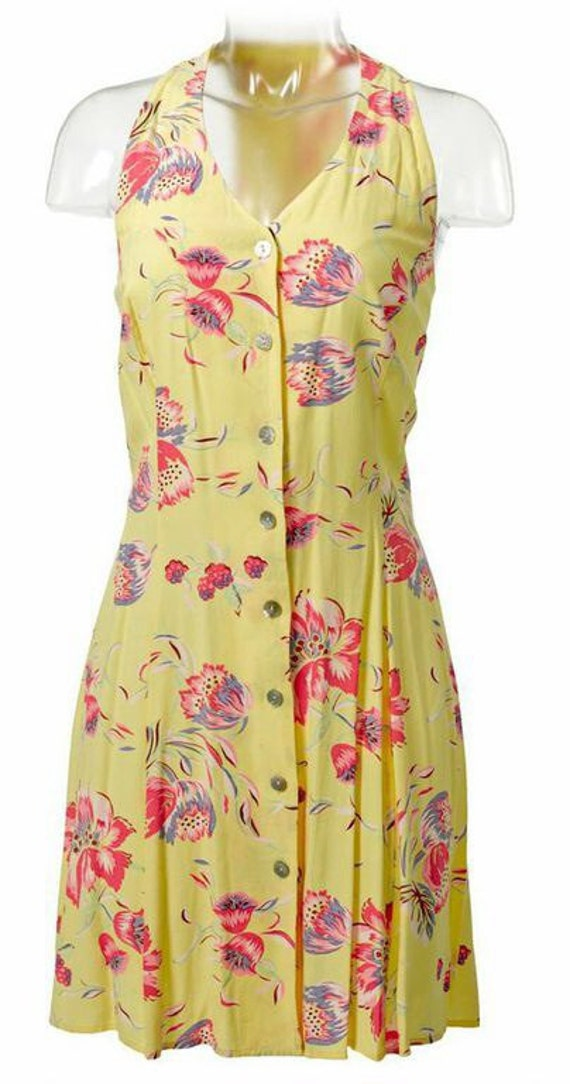 Yellow Floral Fit-and-Flare Dress