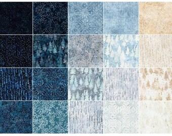"Quilt Top Fabric, Artisan Batiks, Magical Winter, Metallic Accents, Robert Kaufman, Jelly Roll, 2.5"" Strips, Blues, Creams, Tans"