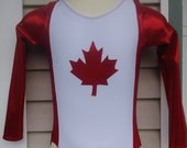 Patriotic Canadian Maple Leaf Leotard or Biketard
