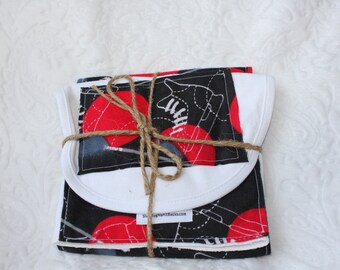 HOCKEY black red Burp Cloth & Bib Set