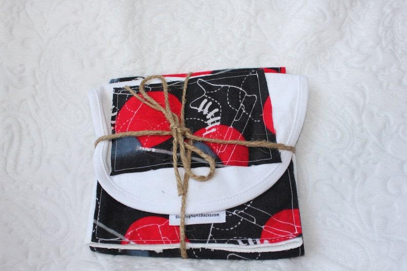 HOCKEY black red Burp Cloth & Bib Set image 0
