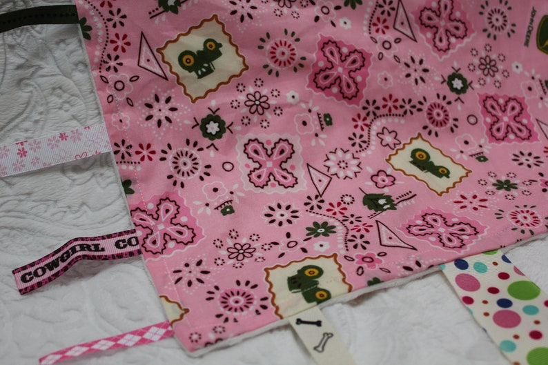 Pink Tractor Baby Blanket with Ribbons image 0