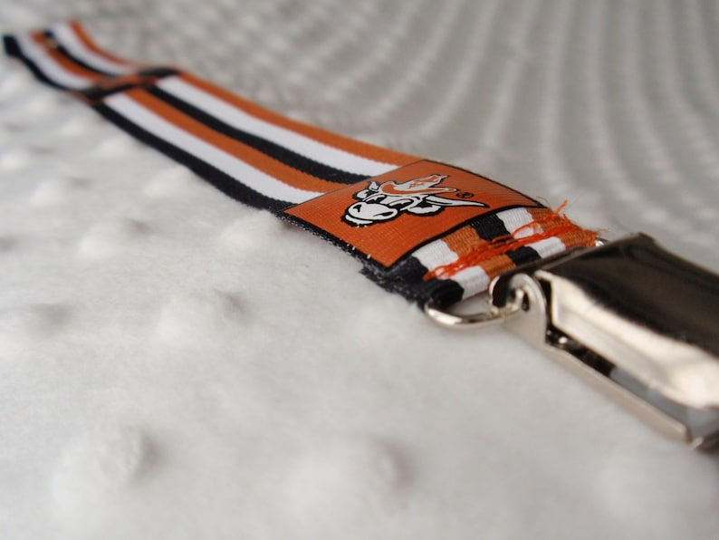 UT Longhorn Striped Pacifier/Toy Clip image 0