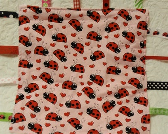 Lady Bugs on Pink Blankie with Ribbons