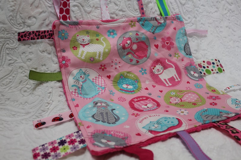 Pink Kitty Cat Baby Blanket with Ribbons image 0