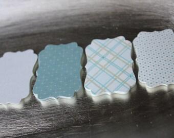 Khaki Blue Patterns Decorative Die Cut Tag Set of 16