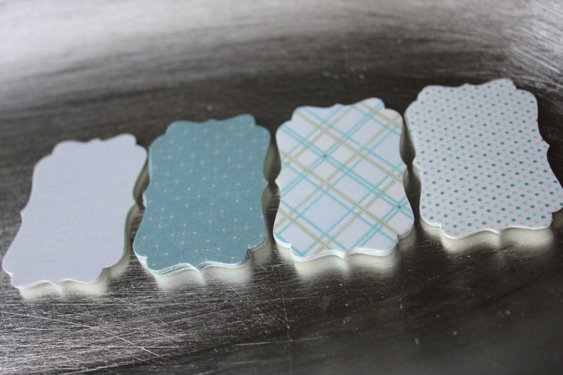 Khaki Blue Patterns Decorative Die Cut Tag Set of 16 image 0