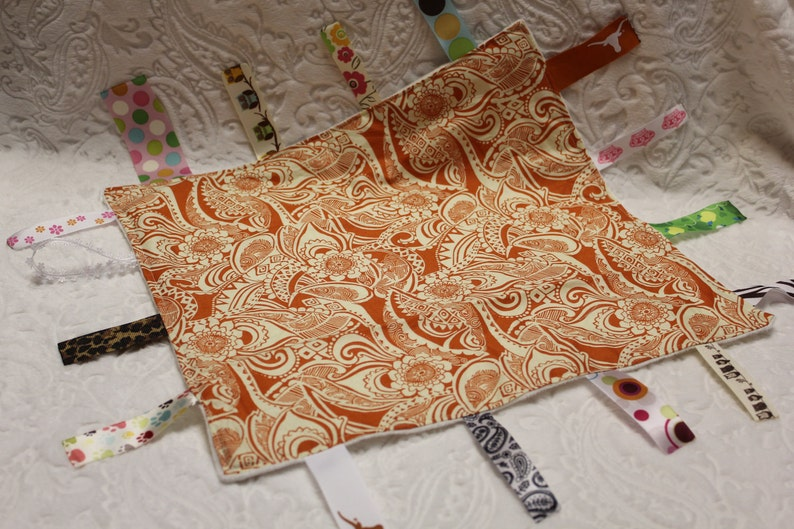 Burnt Orange Floral Blankie with Ribbons image 0