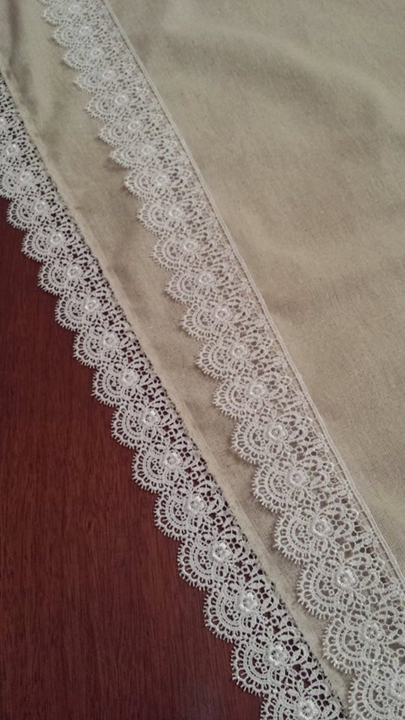 Burlap Lace Table Runner image 0