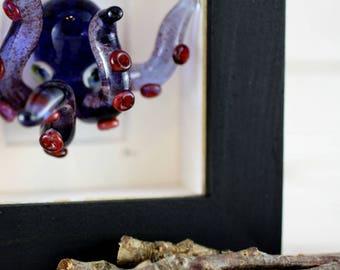 Sculpted Glass Octopus Art, Blue Octopus Framed Art, Hand Sculpted Glass Octopus Kraken, Alternative Steampunk Art, Unique Home Decor