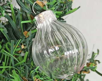 Christmas Tree Bauble, Mini Hanging Ornament, Hand Blown Glass Decoration