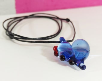 Heart Pendant Valentines Gift, Small Blue and Red Glass Necklace, Unique Jewellery Gifts