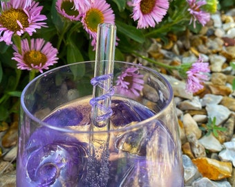 Reusable Glass Straw, Straws for Gin Glasses or Short Tumblers, Plastic Free Gifts, Sustainable Living