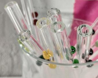 Glass Gin Straws, Dot Decorated Straight Drinks Straw for Balloon Glasses