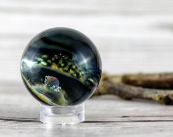 Opal Dichroic Vortex Galaxy Marble, Black Opal Planet Space Marble, Green Gold Dichroic Swirl, Collectable Borosilicate Glass  Marble