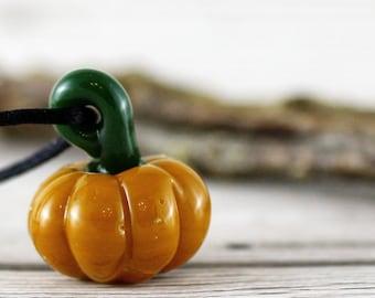Glass Pumpkin Charm Pendant, Autumn Fall Necklace, Fairy Tale Jewellery, Halloween Pumpkin Necklace Jewellery, 3D Unique Pendants