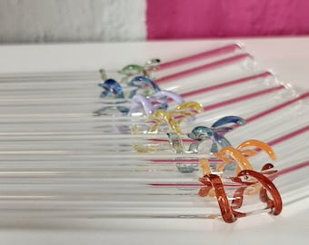 Glass Drinking Straws, Dishwasher Safe Re-useable Bent Drinks Straw with Decorative Coil