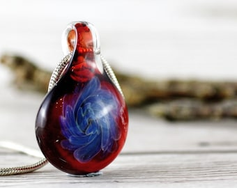 Red and Blue Glass Flower Pendant, Floral Jewellery, Gifts for Women, Handmade Glass Jewellery, Swirl Necklace, Lampwork Pendant
