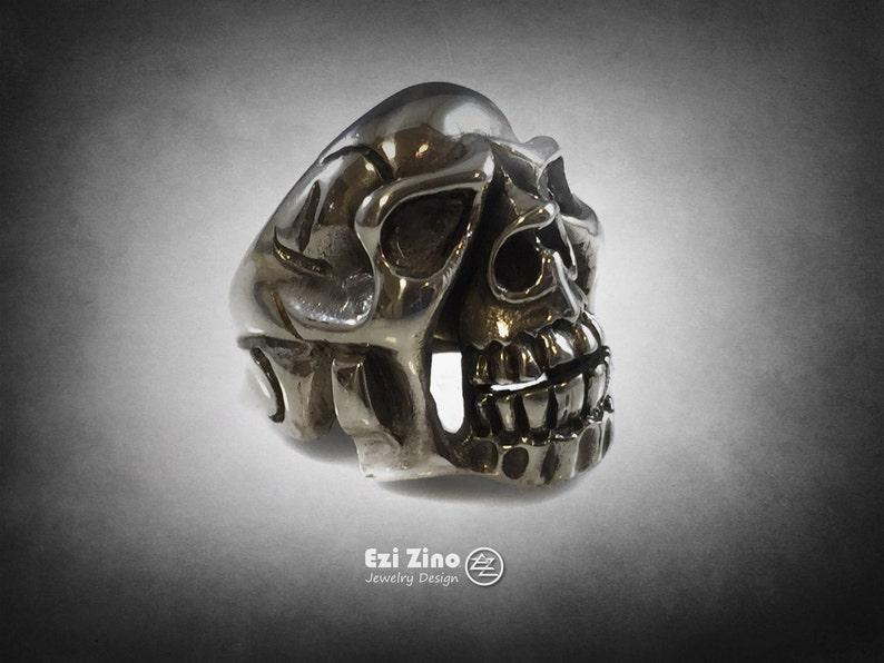 Ezi Zino Skull sterling silver 925 BIKER OUTLAW ring solid 23 grams