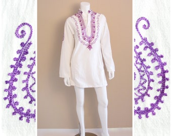 Vintage India cotton tunic dress or shirt with purple hand embroidered flower and mandala design. 1960s.