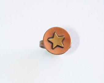 Vintage Star ring copper 1960s. Southwestern. Western. Unworn Vintage statement jewelry.