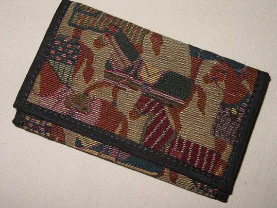 Tapestry Fabric HORSE BLANKETS Equestrian Horse Ladies WalletCheckbook made in USA