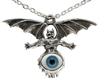 "Carved Metal Silver The Eye King Diamond Mercyful Fate Goth Demon 22"" Necklace"