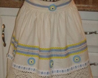 Vintage Curtain Repurposed Waist Apron (Sale)