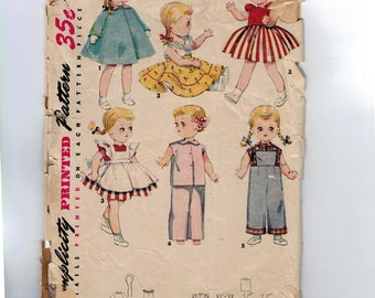 1950s Vintage Sewing Pattern Simplicity 4509 14 Inch Doll Wadrobe, Incomplete