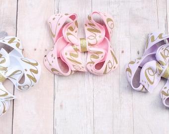 First birthday bow, ONE birthday bow, ONE hair bow, white and gold birthday bow, pink gold birthday bow, gold ONE bow, gold one birthday bow