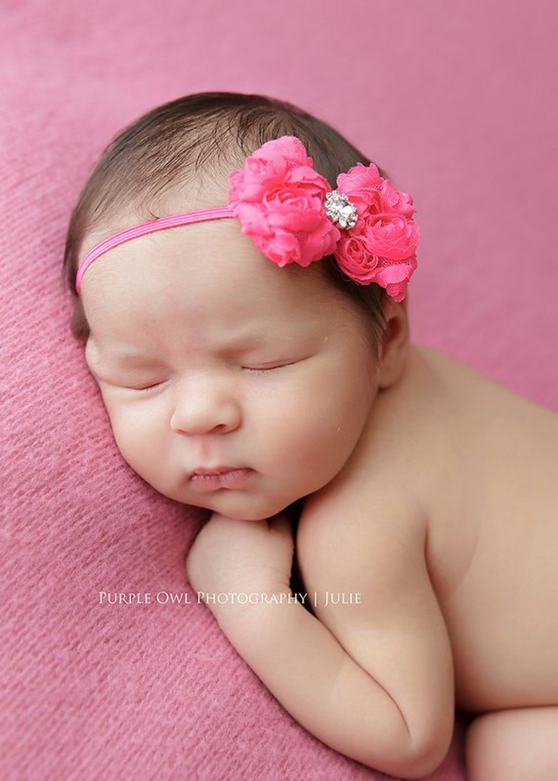 7057edc29549 Hot pink baby headband infant headband newborn headband