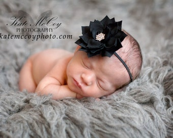 Black baby headband, baby headband, infant headband, newborn headband, black hair band, photo prop, baby hair band, black headband