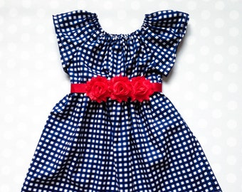 Navy and Red Gingham Dress - Girls Dress - Dresses for Girls - Baby Girl Dress - Girls Navy Dress - Dresses for Baby - Spring Dress - Summer