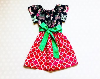48d61d35c456 Pink and Navy Butterfly Dress - Easter Dresses for Girls
