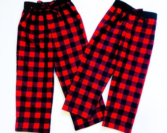 red buffalo check family christmas pajama lounge pants plaid flannel matching pajamas for the family