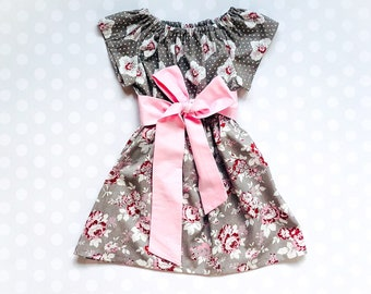 3e68984e Girls Easter Outfits - Gray and Pink Girls Floral Spring Dress