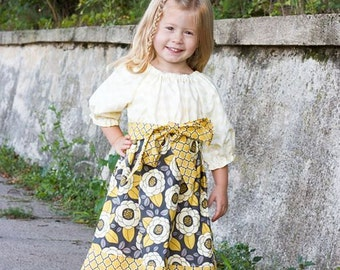 Mustard Blossom Dress, Girl's Fall Dress, Baby Girl Fall Dress