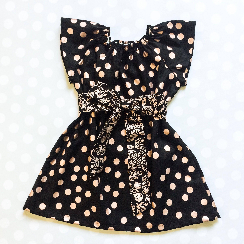 e3d8ffdc13d19 Girls Spring Dresses Black and Rose Gold Dresses for Girls   Etsy