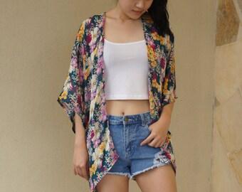 Handmade Kimono Cardigan (Japan) - bohemian kimono, handmade, chiffon, kimono jacket, boho, festival,floral, cover