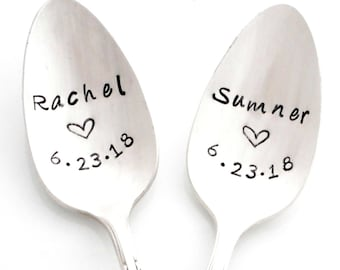The Bridal Pair, CUSTOM Stamped Spoons, with names and wedding date. The ORIGINAL Hand Stamped Vintage Coffee Spoons™. Same Sex Marriage.