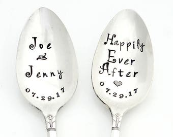 Bridal Pair of Spoons. Coffee Lovers. Wedding Teaspoons with Monogram and Wedding Date. Custom. The ORIGINAL Hand Stamped Vintage Teaspoons™