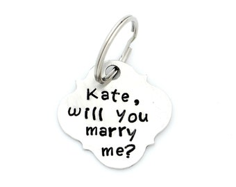 PUPPY PROPOSAL. He Wants to Know If You Will Say Yes.  Hand Stamped Metal Pet Tag. Unique Proposal Idea. Marry Me. Pet Pawposal. pawposals