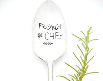 French the Chef Large  Hand Stamped Serving Spoon. Hand Stamped Vintage Silverware. Gift for Foodie, Chef. Holiday Table  Hostess Gift Idea.