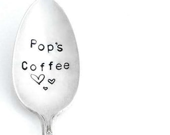 Pop's Coffee Spoon. Dad's Tea Spoon. Father's Day Gift Idea.  Personalized Stamped Spoon. The ORIGINAL Hand Stamped Vintage Coffee Spoons™