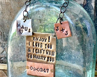 Have a Sip and Meet Me at the Altar!  You choose wording for your wedding day. CUSTOM PERSONALIZED Bottle Tag, Wedding Day Gift for Groom.
