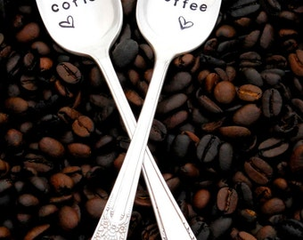His Coffee, Her Coffee Spoons. The ORIGINAL Hand Stamped Vintage Coffee Spoons™ by Sycamore Hill. His and Hers Spoons. Couples Gift. Tea